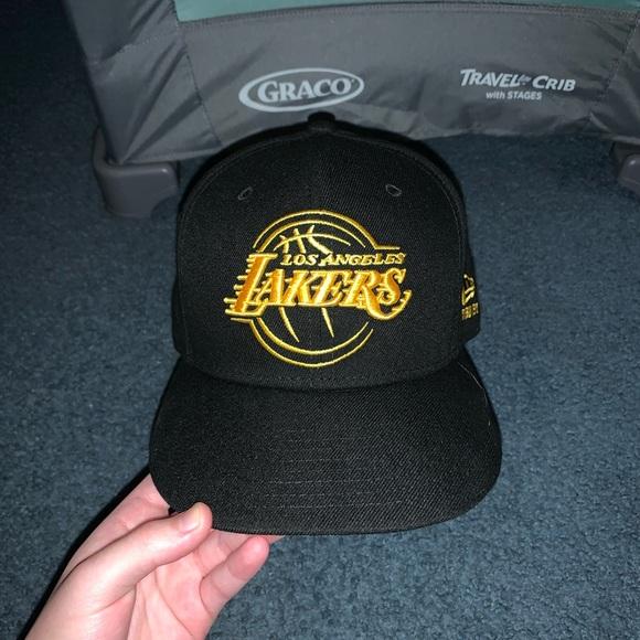 New Era Accessories Black Gold Lakers Hat Poshmark